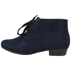 Shoes - Navy Closed Toe Lace Up Low Heel Ankle Boot